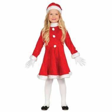 Budget kerstjurk verkleed kostuum met muts voor meisjes dames