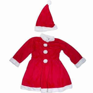 Kerstjurk verkleed kostuum met muts voor meisjes dames