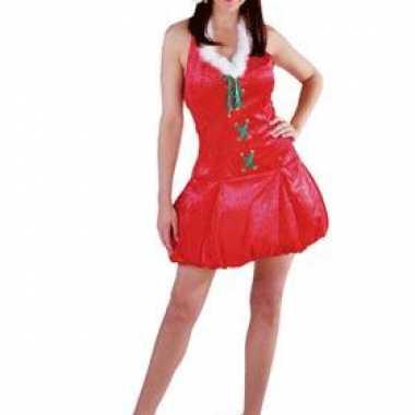 Rode fluwelen kerstjurk met muts dames