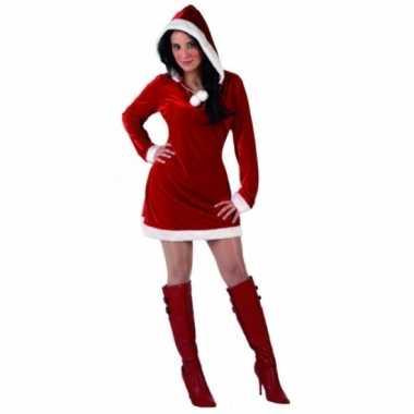 Rood kerstjurk met capuchon dames