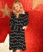 Kerstmis jurk zwart met lampjes print dames